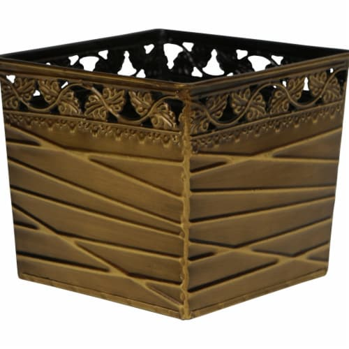 Cheungs 5068A Square Metal Gold Planter Perspective: front