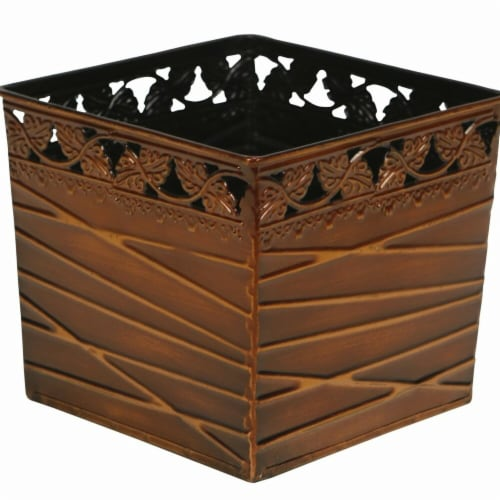 Cheungs 5068B Square Metal Bronze Planter Perspective: front