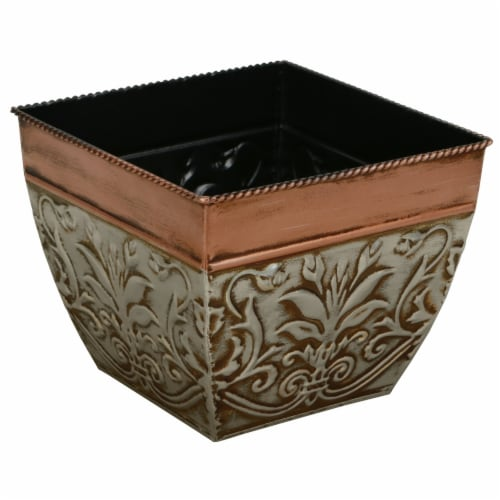 Cheungs 5070 1 lbs Bronze & Silver Metal Tapered Planter Perspective: front