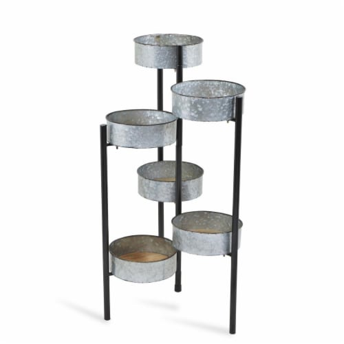 Cheungs 5110 6 Pot Metal Folding Plant Stand & Wood Base Perspective: front