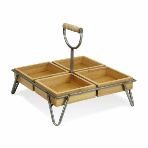 Cheungs Square Bamboo Storage with 4 Plates & Metal Stand Perspective: front