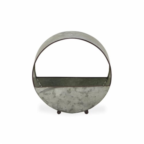 Cheungs 5520 Freestanding Galvanized Metal Round Vertical Planter Perspective: front