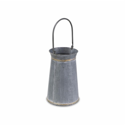 Cheungs 5522L Tall Round Galvanized Planter with Top & Bottom Gold Welding Accents & Swivel H Perspective: front