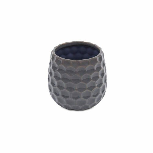 Cheungs 5593GR Hexagon Textured Pattern Ceramic Planter, Gray Perspective: front