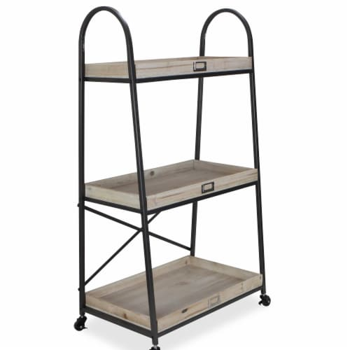Cheungs 5476 Rectangular Three Tier Metal Cart with Wood Shelves Perspective: front