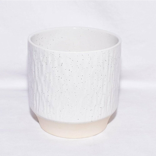 Cheungs 5660WT Rippled Ceramic Planter, White Perspective: front