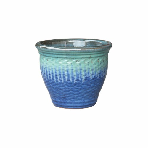 Cheungs 5661GR Rippled Ceramic Planter, Gray Perspective: front