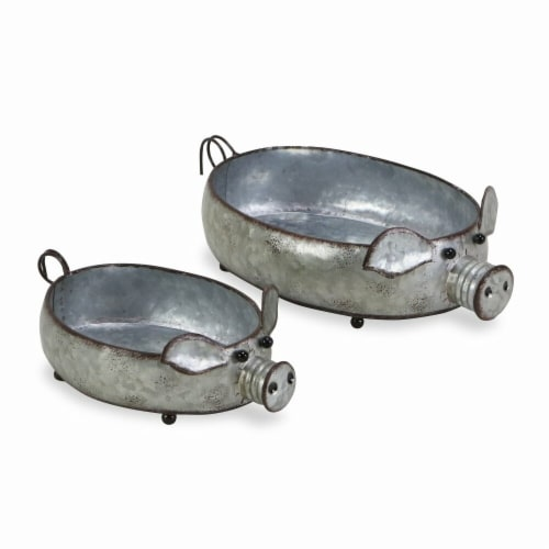 Cheungs 5596-2 Galvanized Metal Piglet Planters - Set of 2 Perspective: front