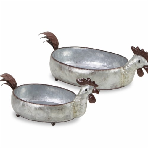 Cheungs 5597-2 Galvanized Metal Hen Planters - Set of 2 Perspective: front