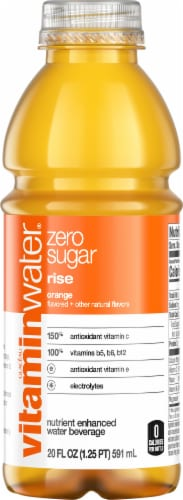 Vitaminwater Zero Sugar Rise Orange Flavored Nutrient Enhanced Water Beverage Perspective: front