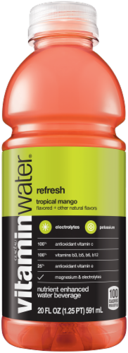Vitaminwater Refresh Tropical Mango Flavored Nutrient Enhanced Water Beverage Perspective: front