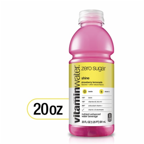 Vitaminwater Zero Sugar Shine Strawberry Lemonade Nutrient Enhanced Water Beverage Perspective: front