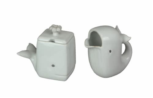 Adorable White Ceramic Whale Sugar and Creamer Set Perspective: front
