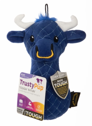 Trustypup Blue Bull Tough N' Fun Dog Toy Perspective: front