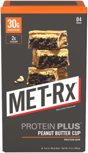 MET-Rx Protein Plus Peanut Butter Cup Protein Bars Perspective: front