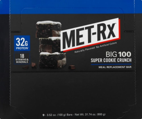 Met-Rx Big 100 Super Cookie Crunch Bars Perspective: front