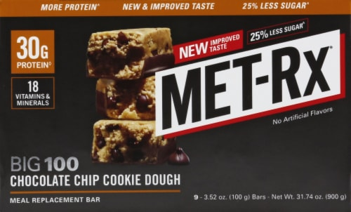 Met-Rx Big 100 Chocolate Chip Cookie Dough Bar Perspective: front
