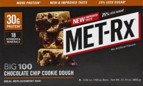 Met-Rx Big 100 Chocolate Chip Cookie Dough Bar Perspective: front