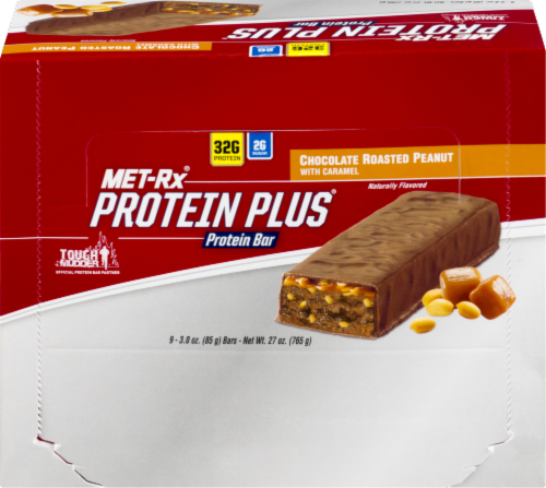 Met-Rx Protein Plus Peanut Butter Caramel Bars Perspective: front