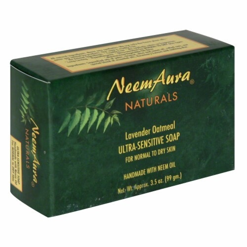 Neem Aura Naturals Lavender Oatmeal Ultra Sensitive Soap Perspective: front