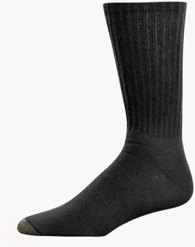 GOLDTOE® Men's Cotton Crew Athletic Socks - 6 Pack - Black Perspective: front