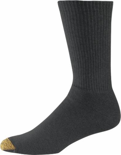 GOLDTOE® Uptown Crew Men's Socks - 3 Pack - Black Perspective: front