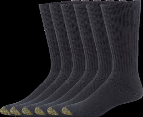 GOLDTOE® Men's Harrington Crew Socks - 6 Pack - Black Perspective: front