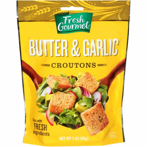 Fresh Gourmet Butter & Garlic Croutons Perspective: front