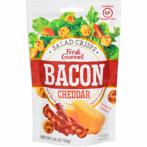 Fresh Gourmet Bacon Cheddar Gluten Free Salad Crisps Perspective: front