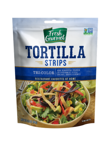 Fresh Gourmet Tri-Color Tortilla Strips Perspective: front