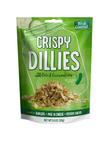 Fresh Gourmet Fried Cucumber Crispy Dillies Perspective: front