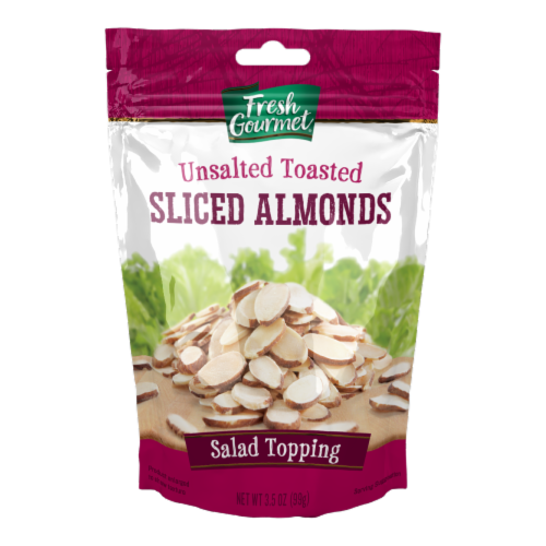 Fresh Gourmet Toasted Sliced Almonds Salad Topping Perspective: front