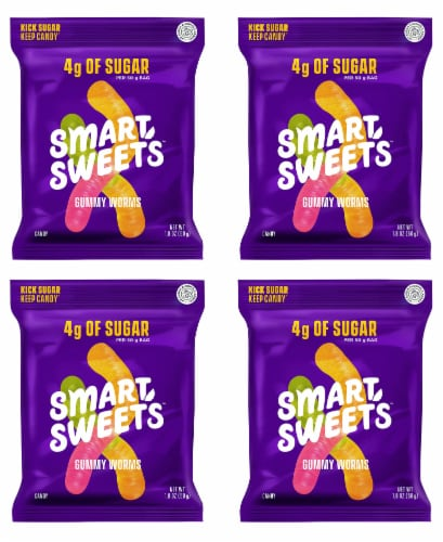 Smart Sweets Gummy Worms, Candy with Low Sugar (4g), Low Calorie, (Pack of 4) Perspective: front