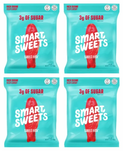Smart Sweets Sweet Fish, Low Sugar Gummy Candy, Plant-Based, 1.8oz. (Pack of 4) Perspective: front
