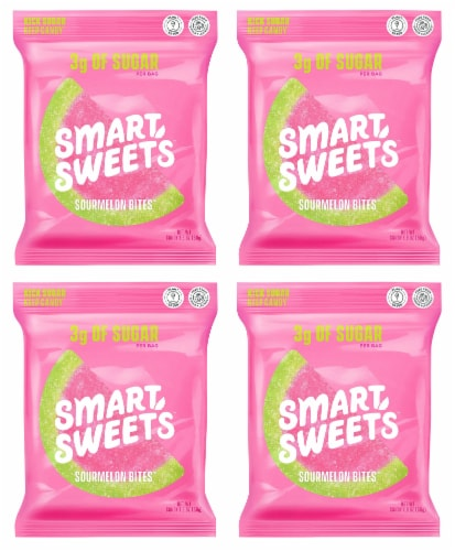 SmartSweets Sourmelon Bites, Candy with Low Sugar (3g), Low Calorie, 1.8 oz (Pack of 4) Perspective: front