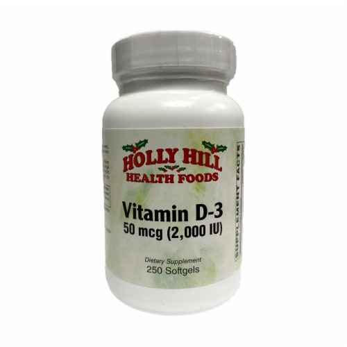 Holly Hill Health Foods Vitamin D3, 2000 IU, 250 Softgels Perspective: front