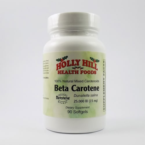 Holly Hill Health Foods, Beta Carotene, 90 Softgels Perspective: front