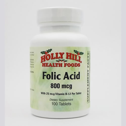 Holly Hill Health Foods, Folic Acid, 100 Tablets Perspective: front