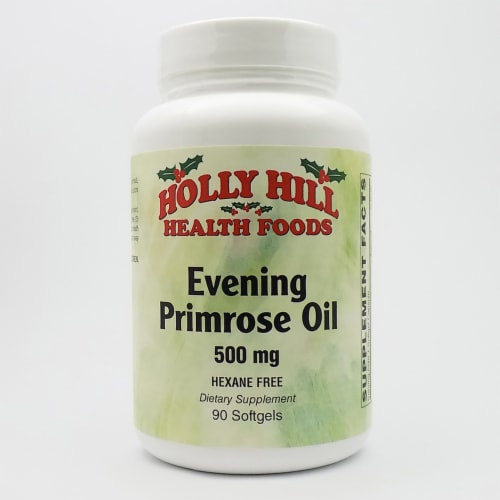 Holly Hill Health Foods, Evening Primrose Oil 500 MG, Hexane Free, 90 Softgels Perspective: front