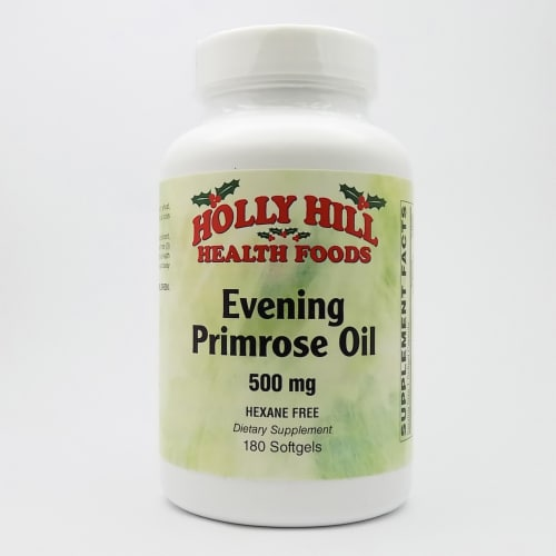 Holly Hill Health Foods, Evening Primrose Oil 500 MG, Hexane Free, 180 Softgels Perspective: front