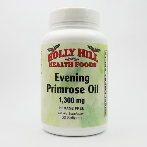 Holly Hill Health Foods, Evening Primrose Oil 1300 MG, Hexane Free, 60 Softgels Perspective: front
