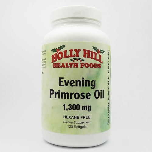Holly Hill Health Foods, Evening Primrose Oil 1300 MG, Hexane Free, 120 Softgels Perspective: front