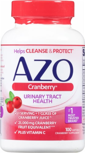 Azo Cranberry Urinary Tract Supplement Softgels Perspective: front