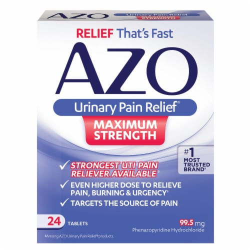 Azo Urinary Pain Relief Maximum Strength Tablets 99.5 mg Perspective: front