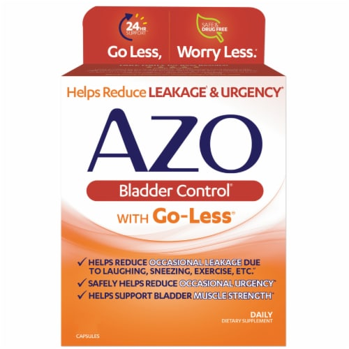 Azo Bladder Control with Go-Less Dietary Supplement Capsules Perspective: front