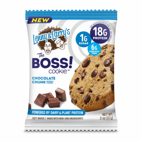 Lenny & Larry's The Boss Dairy & Plant Protein Chocolate Chunk Cookie Perspective: front