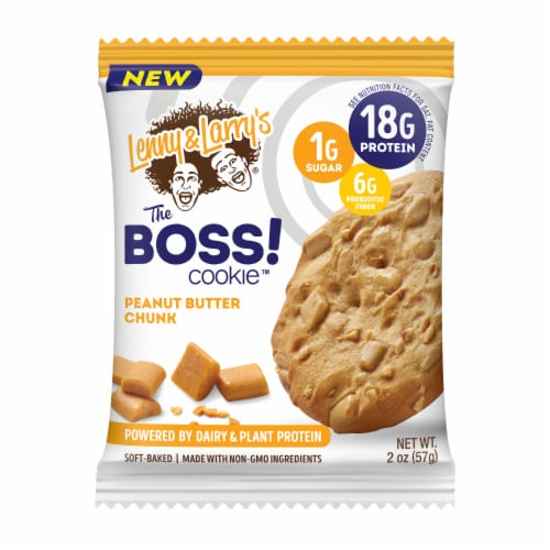 Lenny & Larry's The Boss Dairy & Plant Protein Peanut Butter Chunk Cookie Perspective: front