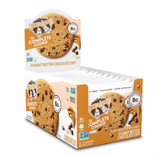 Lenny & Larry's The Complete Cookie Peanut Butter Chocolate Chip Plant-Based Protein Cookies Perspective: front