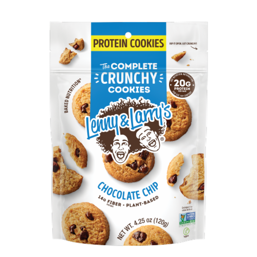 Lenny & Larry's The Complete Protein and Plant Based Crunchy Chocolate Chip Cookies Perspective: front