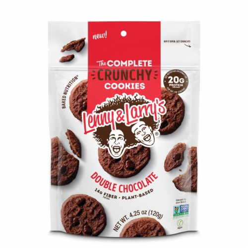 Lenny & Larry's The Complete Protein and Plant Based Crunchy Double Chocolate Cookies Perspective: front